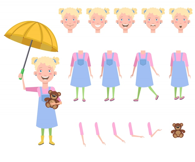 Happy little girl with teddy bear under umbrella character set