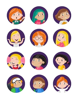 Happy little girls avatar set