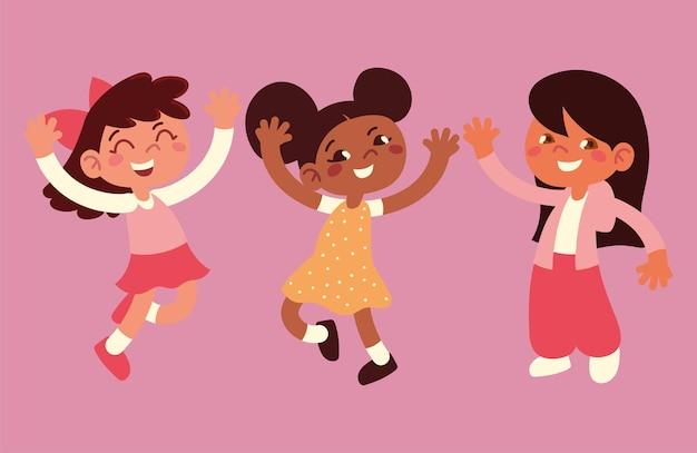 Happy little girls