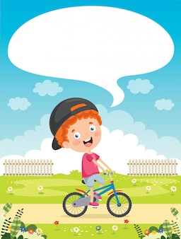 Happy little kid riding bicycle