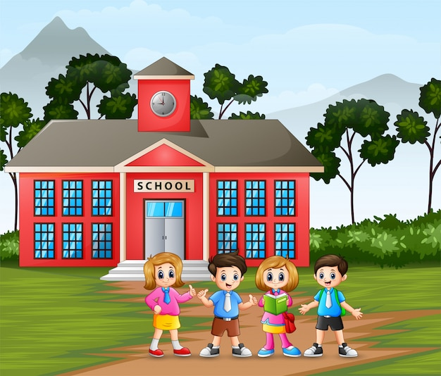 Happy little kid on school building background