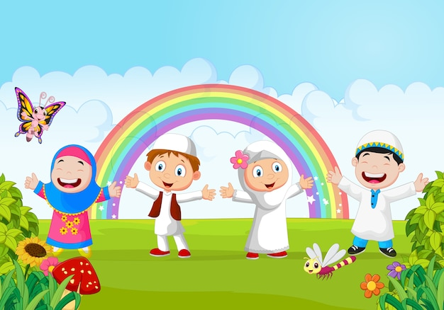 Happy little kid with rainbow