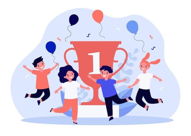 Happy little kids celebrating victory near golden cup flat illustration