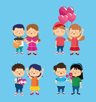 Happy little kids group friends characters illustration