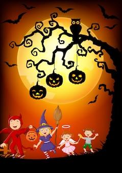 Happy little kids wearing costume Halloween