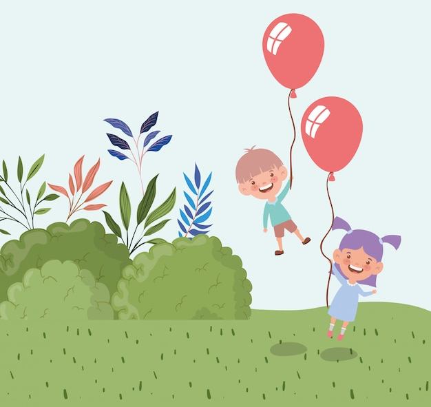 Happy little kids with balloons helium in the field landscape