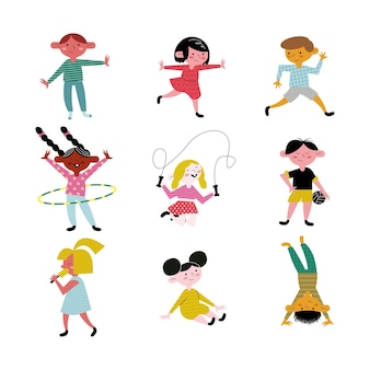 Happy little nine kids practicing activities avatars characters  illustration