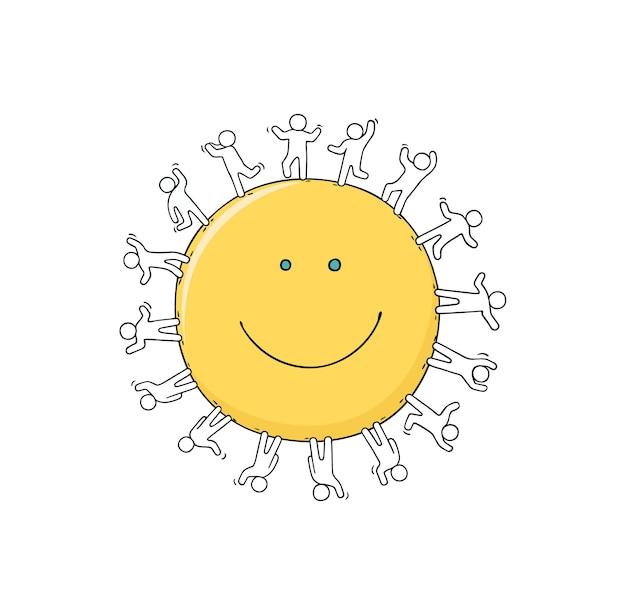 미소 주위에 서 있는 행복한 작은 사람들.