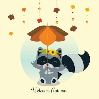 Happy little raccoon holding a leaf umbrella