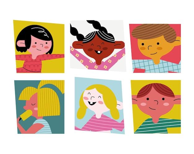 幸せな小さな6人の子供のアバターのキャラクターのイラスト
