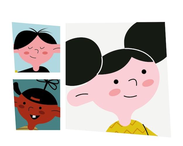 幸せな小さな3人の子供のアバターのキャラクターのイラスト