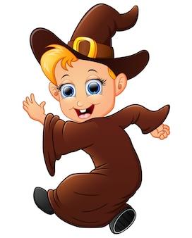 Happy little witch cartoon walking
