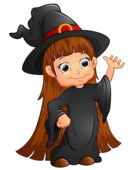 Happy little witch presenting