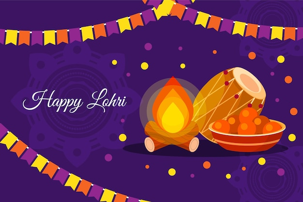 Happy lohri bonfire illustration