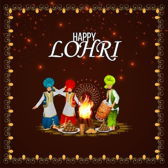 Happy lohri celebration greeting card and background