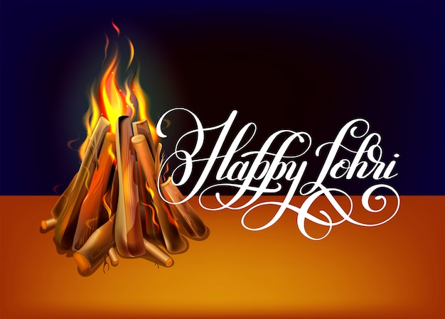 Happy lohri hand lettering celebration design