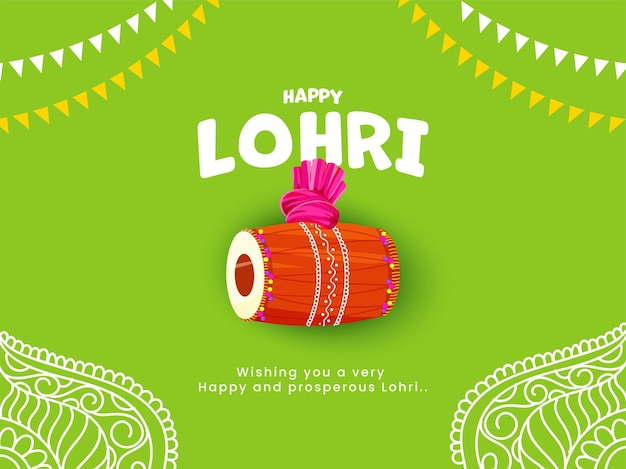 Happy lohri text with dhol instrument, turban and bunting flags