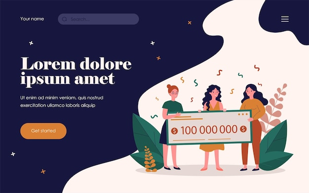 Happy lottery winners with huge bank check. celebrating win, money prize, trophy flat vector illustration. luck, fortune, success concept for banner, website design or landing web page