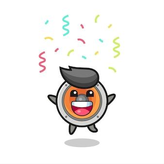 色の紙吹雪、tシャツ、ステッカー、ロゴ要素のかわいいスタイルのデザインでおめでとうのためにジャンプする幸せなスピーカーのマスコット