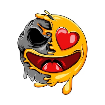 Happy love emoticon with love eyes changes to death skull expression