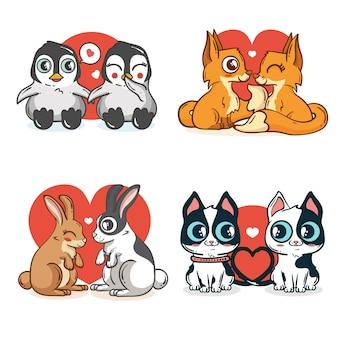 Счастливые милые животные пары для валентина