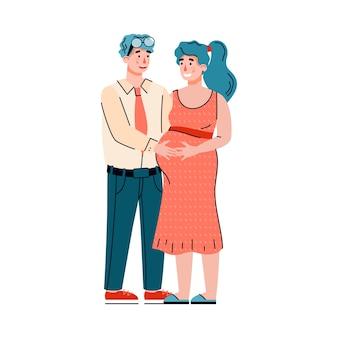 赤ちゃんを期待して幸せな愛情のあるカップル、孤立した漫画フラットイラスト。
