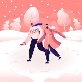 Счастливая любящая пара в теплой одежде, взявшись за руки, катаясь на коньках на открытом воздухе на замерзшем пруду в зимнем парке. мультфильм плоский рисунок