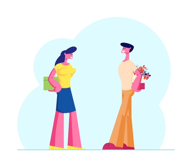 Happy loving couple prepare gifts to each other. cartoon flat illustration