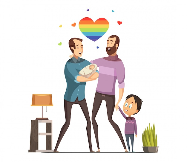 Happy loving same-sex gay couple with newborn baby and little son at home retro cartoon vector illus