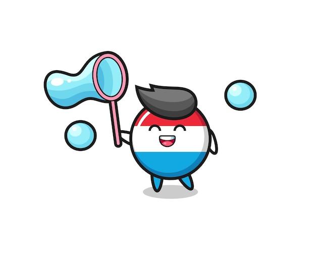 해피 룩셈부르크 국기 배지 만화 비누 방울, 티셔츠, 스티커, 로고 요소를 위한 귀여운 스타일 디자인