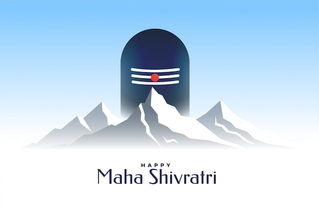 Happy maha shivratri card with shivling and mountain