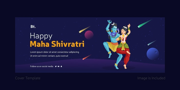 Happy maha shivratri facebook cover design with lord shiva and goddess parvati dancing together