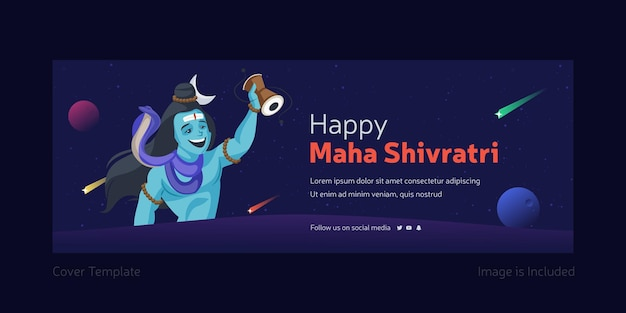 Happy maha shivratri facebook cover design with lord shiva playing the damru