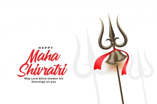 Happy maha shivratri festival greeting card with trishul