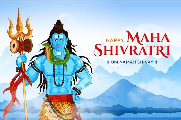 Happy maha shivratri lord shankar trishul & damru standing in himalaya Premium Vector