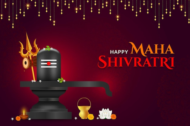 Happy maha shivratri, shivlinga with trisula background Premium Vector