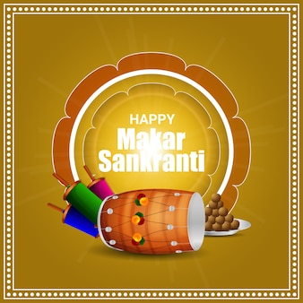Happy makar sankranti background and illustration