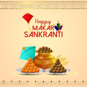 Happy makar sankranti background with creative sweet pot and kite