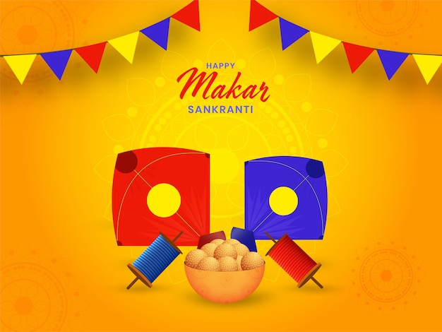 Happy makar sankranti background with kites and indian sweets