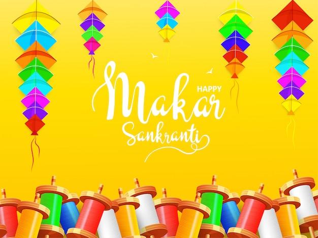 Happy makar sankranti background.