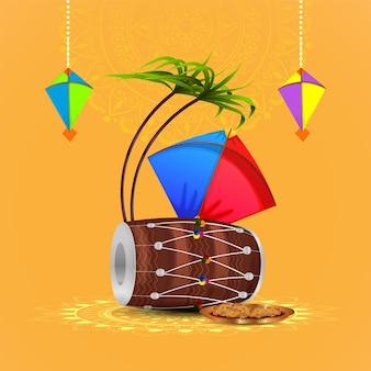 Happy makar sankranti banner or header with laddoo and beautiful kites