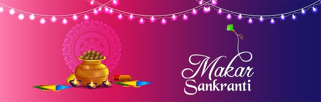 Happy makar sankranti banner or header