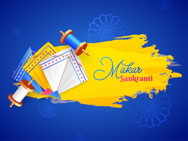 Happy makar sankranti banner or poster design