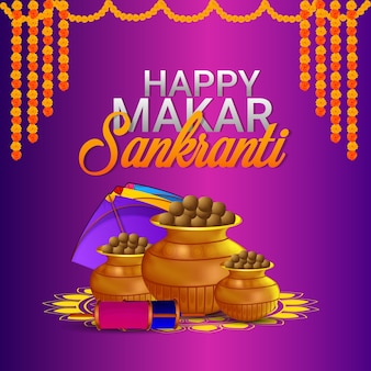 Happy makar sankranti celebration background with kite
