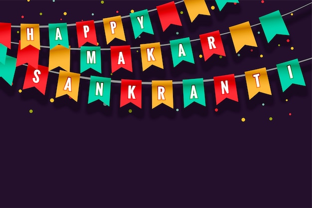 Happy makar sankranti celebration flags greeting card design