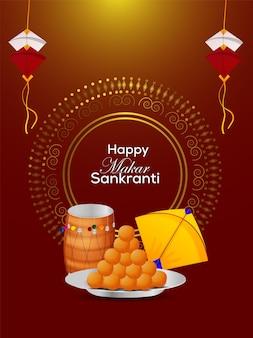 Happy makar sankranti celebration flyer and background Premium Vector