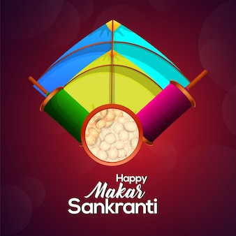 Happy  makar sankranti colorful kites with string spool