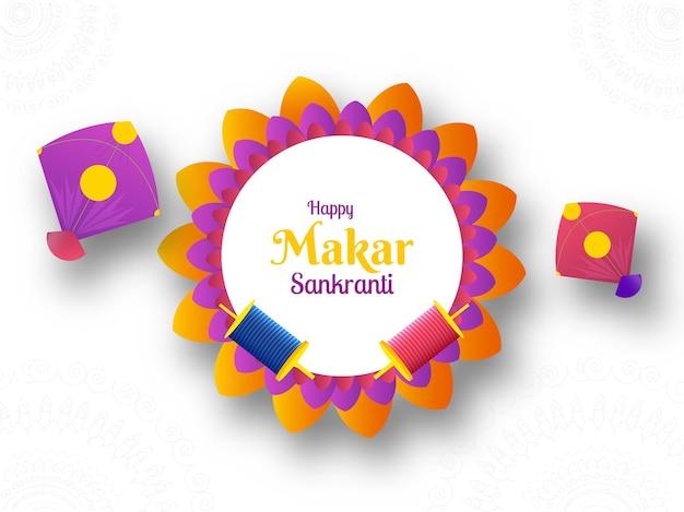 Happy makar sankranti concept with colorful kites