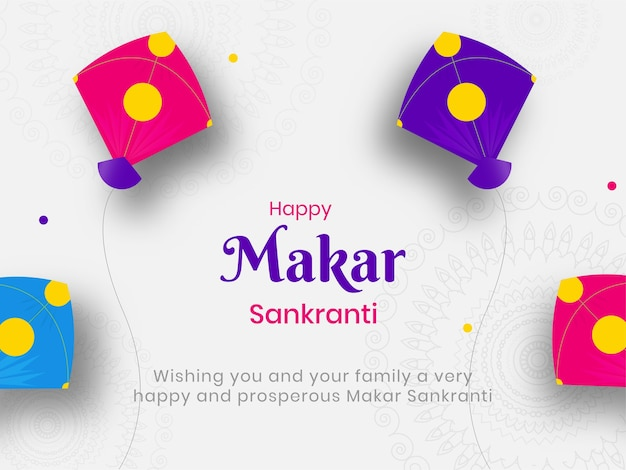 Happy makar sankranti concept with colorful kites