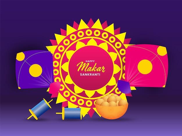 Happy makar sankranti concept with colorful mandala and kites